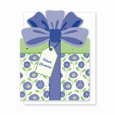 Die Cut Present Birthday Card Purple Buds