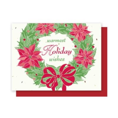 wreath holiday plantable card