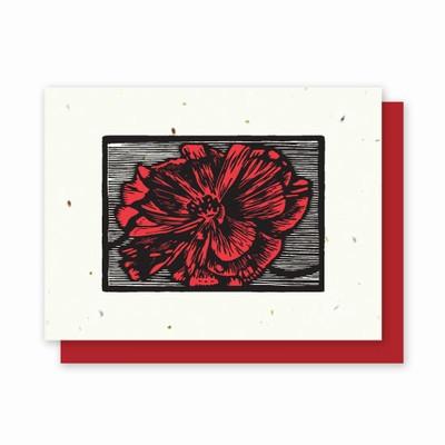Grow-a-Note® Woodcut Letterpress Poppy