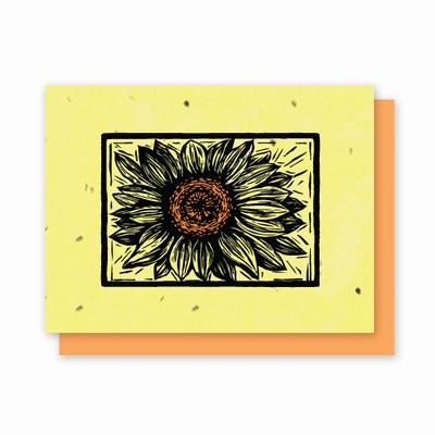 Grow-a-Note® Woodcut Letterpress Sunflower