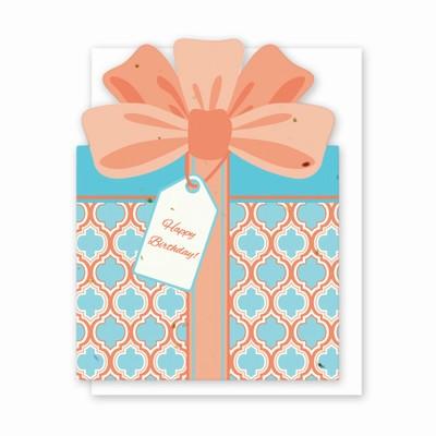 Die Cut Present Birthday Card Coral/Blue Geo