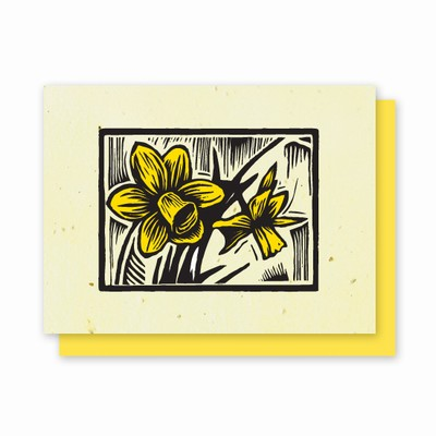 Grow-a-Note® Woodcut Letterpress Daffodil