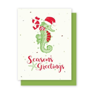 Sea horse seasons greetings plantable card